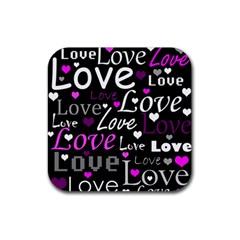 Valentine s day pattern - purple Rubber Square Coaster (4 pack)