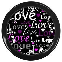 Valentine s day pattern - purple Wall Clocks (Black)