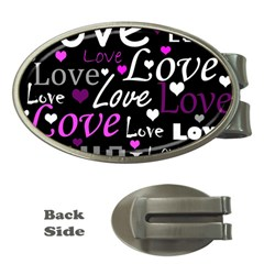 Valentine s day pattern - purple Money Clips (Oval)