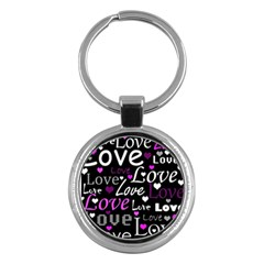 Valentine s day pattern - purple Key Chains (Round)