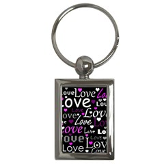 Valentine s day pattern - purple Key Chains (Rectangle)