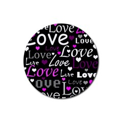 Valentine s day pattern - purple Rubber Coaster (Round)