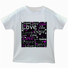 Valentine s day pattern - purple Kids White T-Shirts