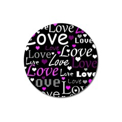 Valentine s day pattern - purple Magnet 3  (Round)