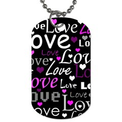 Valentine s day pattern - purple Dog Tag (One Side)