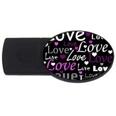 Valentine s day pattern - purple USB Flash Drive Oval (1 GB)