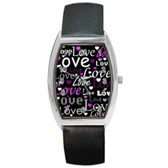 Valentine s day pattern - purple Barrel Style Metal Watch