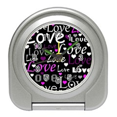 Valentine s day pattern - purple Travel Alarm Clocks
