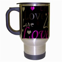 Valentine s day pattern - purple Travel Mug (Silver Gray)