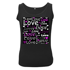 Valentine s day pattern - purple Women s Black Tank Top