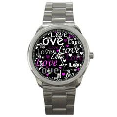 Valentine s day pattern - purple Sport Metal Watch