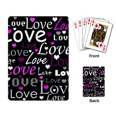 Valentine s day pattern - purple Playing Card