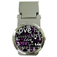 Valentine s day pattern - purple Money Clip Watches
