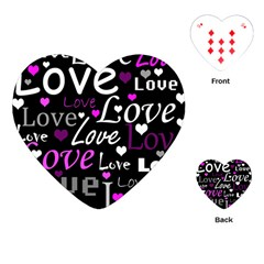 Valentine s day pattern - purple Playing Cards (Heart)