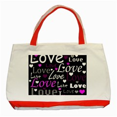 Valentine s day pattern - purple Classic Tote Bag (Red)