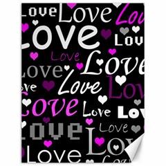 Valentine s day pattern - purple Canvas 12  x 16