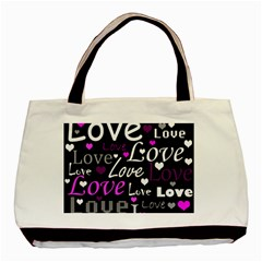 Valentine s day pattern - purple Basic Tote Bag (Two Sides)