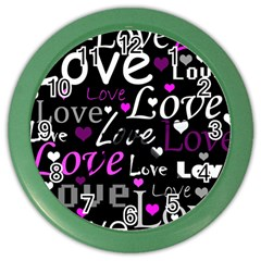 Valentine s day pattern - purple Color Wall Clocks