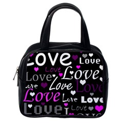 Valentine s day pattern - purple Classic Handbags (One Side)