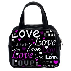 Valentine s day pattern - purple Classic Handbags (2 Sides)