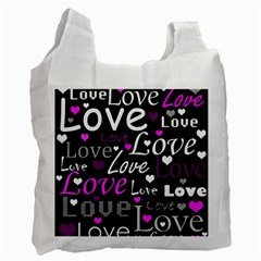 Valentine s day pattern - purple Recycle Bag (Two Side)