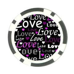 Valentine s day pattern - purple Poker Chip Card Guards (10 pack)