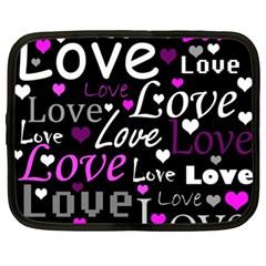 Valentine s day pattern - purple Netbook Case (XL)