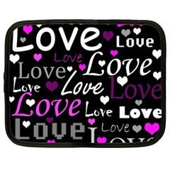 Valentine s day pattern - purple Netbook Case (XXL)