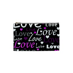 Valentine s day pattern - purple Cosmetic Bag (Small)