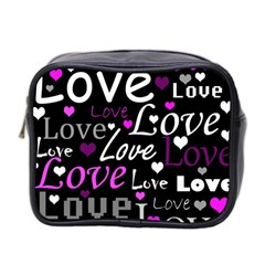 Valentine s day pattern - purple Mini Toiletries Bag 2-Side