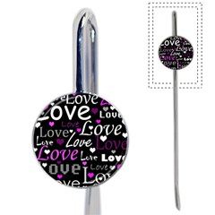 Valentine s day pattern - purple Book Mark