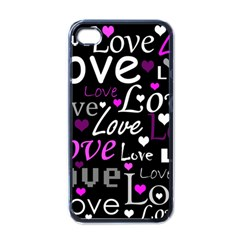 Valentine s day pattern - purple Apple iPhone 4 Case (Black)