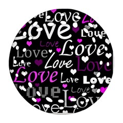 Valentine s day pattern - purple Ornament (Round Filigree)
