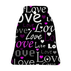 Valentine s day pattern - purple Bell Ornament (2 Sides)