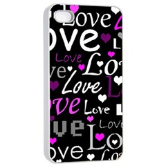 Valentine s day pattern - purple Apple iPhone 4/4s Seamless Case (White)