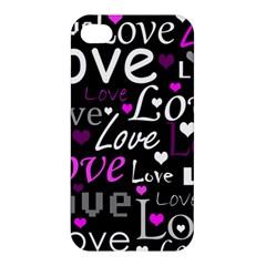 Valentine s day pattern - purple Apple iPhone 4/4S Premium Hardshell Case