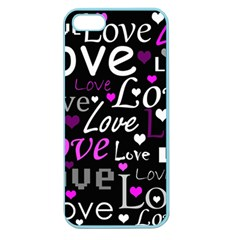 Valentine s day pattern - purple Apple Seamless iPhone 5 Case (Color)