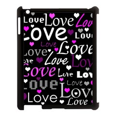 Valentine s day pattern - purple Apple iPad 3/4 Case (Black)