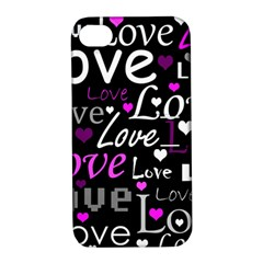 Valentine s day pattern - purple Apple iPhone 4/4S Hardshell Case with Stand