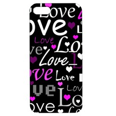 Valentine s day pattern - purple Apple iPhone 5 Hardshell Case with Stand