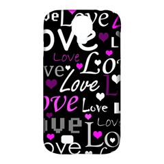 Valentine s day pattern - purple Samsung Galaxy S4 Classic Hardshell Case (PC+Silicone)