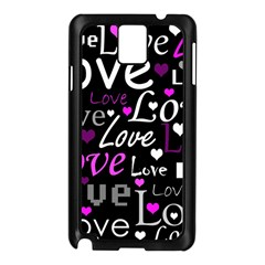 Valentine s day pattern - purple Samsung Galaxy Note 3 N9005 Case (Black)