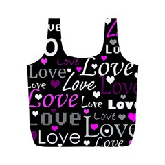 Valentine s day pattern - purple Full Print Recycle Bags (M)