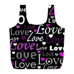 Valentine s day pattern - purple Full Print Recycle Bags (L)