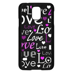 Valentine s day pattern - purple Samsung Galaxy S5 Case (Black)