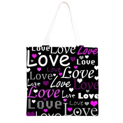 Valentine s day pattern - purple Grocery Light Tote Bag