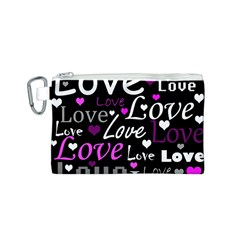 Valentine s day pattern - purple Canvas Cosmetic Bag (S)