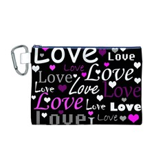 Valentine s day pattern - purple Canvas Cosmetic Bag (M)