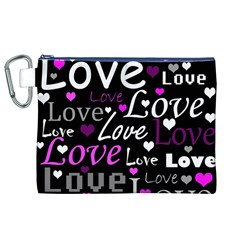 Valentine s day pattern - purple Canvas Cosmetic Bag (XL)