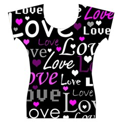 Valentine s day pattern - purple Women s Cap Sleeve Top